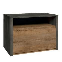 Noční stolek, dub lefkas tmavý/smooth šedý, MONTANA SN