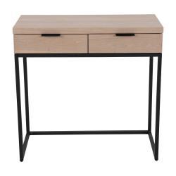 Konzolový stolek s 2 šuplíky z jasanového dřeva a kovovou konstrukcí Canett Cara, délka 80 cm