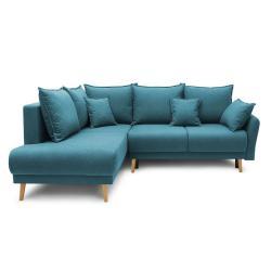 Tyrkysově modrá rozkládací rohová pohovka Bobochic Paris Mia L, levý roh