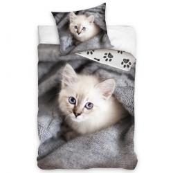 Tiptrade Dětské Bavlněné povlečení Koťátko v pelíšku, 140 x 200 cm, 70 x 90 cm