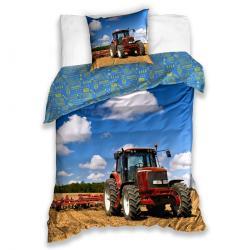 Tiptrade Dětské bavlněné povlečení Traktor na poli, 140 x 200 cm, 70 x 90 cm