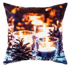 Domarex Svíticí povlak na polštářek s LED světýlky Vánoční pohoda, 45 x 45 cm