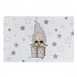 Altom Vánoční prostírání Zimní Elf s dárkem šedá, 28 x 43 cm, sada 4 ks