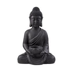 BUDDHA Soška sedícího Buddhy s táckem na svíčku - černá