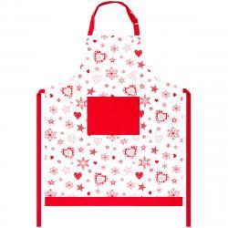 Forbyt Zástěra Vločka a srdce červená, 70 x 90 cm