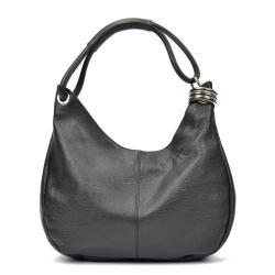 Černá kožená kabelka Carla Ferreri Mona