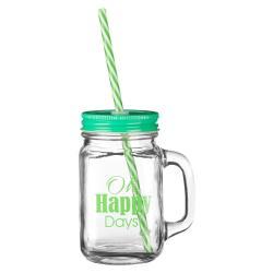 Sklenice se zeleným víčkem a brčkem Premier Housewares Happy Days,450ml