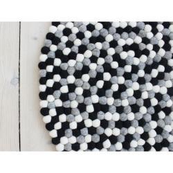 Černo-bílý kuličkový vlněný koberec Wooldot Ball Rugs, ⌀ 140 cm