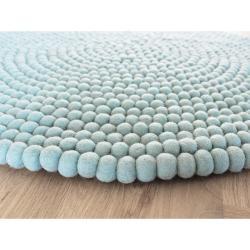 Pastelově modrý kuličkový vlněný koberec Wooldot Ball Rugs, ⌀ 140 cm