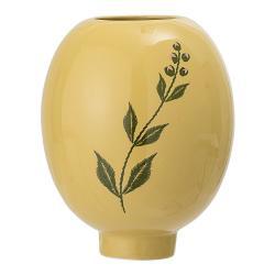 Žluto-zelená váza z kameniny Bloomingville Rose
