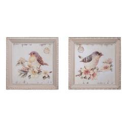 Set 2 ks obrázků Antic Line Oiseaux,27x27cm