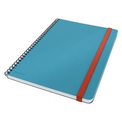 Modrý kroužkový zápisník s hebkým povrchem Leitz, 80 stran