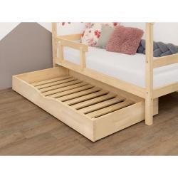 Přírodní dřevěný šuplík pod postel s roštem a plným dnem BenlemiBuddy, 80x140cm