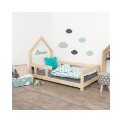 Přírodní dětská postel domeček s levou bočnicí Benlemi Lucky, 70 x 160 cm