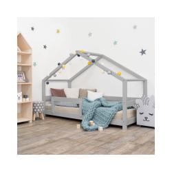 Šedá dětská postel domeček s bočnicí Benlemi Lucky, 90 x 160 cm
