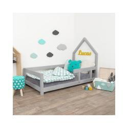 Šedá dětská postel domeček s pravou bočnicí Benlemi Lucky, 90 x 200 cm
