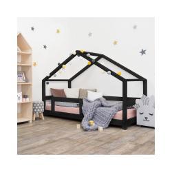 Černá dětská postel domeček s bočnicí Benlemi Lucky, 70 x 160 cm