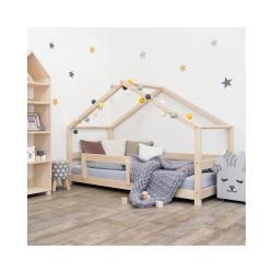 Přírodní dětská postel domeček s bočnicí Benlemi Lucky, 90 x 180 cm