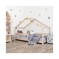 Přírodní dětská postel domeček s bočnicí Benlemi Lucky, 90 x 160 cm