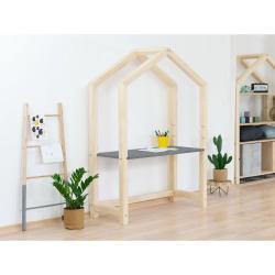 Přírodní dřevěný domečkový stůl s šedou deskou BenlemiStolly, 97x133cm
