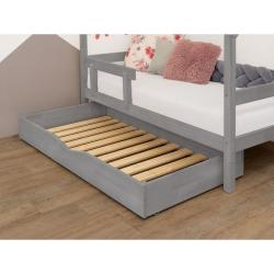 Šedý dřevěný šuplík pod postel s roštem BenlemiBuddy, 90x160cm