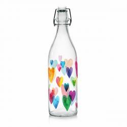 Mäser Skleněná láhev s Clip uzávěrem Love Rainbow, 1 l