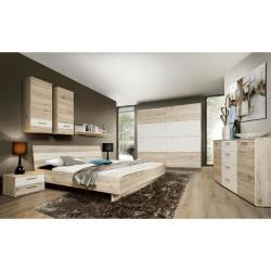 Tempo Kondela Ložnicová sestava (skříň / postel / 2ks noční stolek), dub písková / bílá, VALERIA