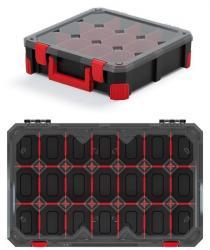PlasticFuture Organizér na nářadí s 21 přihrádkami TITANO 59,8x39x11 cm černo-červený