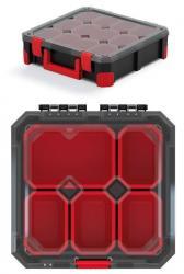 PlasticFuture Organizér na nářadí s 5 přihrádkami TITANO 28x28x11 cm černo-červený