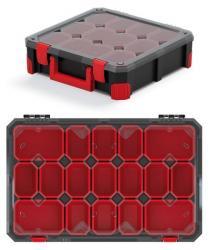 PlasticFuture Organizér na nářadí se 17 přihrádkami TITANO 59,8x39x11 cm černo-červený