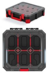PlasticFuture Organizér na nářadí se 6 přihrádkami TITANO 28x28x11 cm černo-červený
