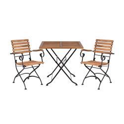PARKLIFE Set zahradního nábytku 2 ks židle s područkami a 1 ks stůl - hnědá/černá