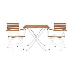 PARKLIFE Set zahradního nábytku 2 ks židle s područkami a 1 ks stůl - hnědá/bílá