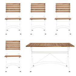 PARKLIFE Set zahradního nábytku 4 ks židle a 1 ks stůl - hnědá/bílá