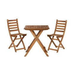 LODGE Set zahradního nábytku 2 ks židle a 1 ks stůl - přírodní
