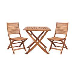 SOMERSET Set zahradního nábytku 2 ks židle a 1 ks stůl - hnědá