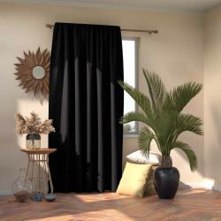 AmeliaHome Závěs Blackout Oxford Pleat černá, 140 x 245 cm