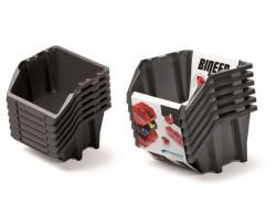 PlasticFuture Sada úložných boxů BINEER SHORT 6 ks 21,4x19,8x23,8 cm černé