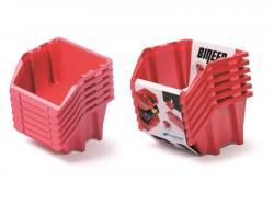 PlasticFuture Sada úložných boxů BINEER SHORT 6 ks 21,4x19,8x23,8 cm červené