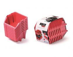 PlasticFuture Sada úložných boxů BINEER SHORT 8 ks 20,6x11,8x14,4 cm červené