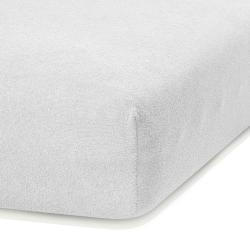 Bílé elastické prostěradlo s vysokým podílem bavlny AmeliaHome Ruby, 160/180 x 200 cm