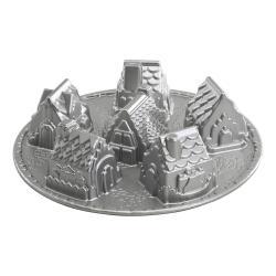 Nordic Ware Forma na 6 chaloupek Cozy Village Bundt® stříbrná