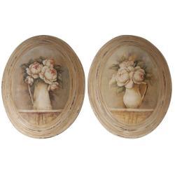Sada 2 ks obrázků Antic Line Médaillon Roses,27x32cm