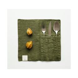 Sada 2 olivově zelených lněných kapes na příbor Linen Tales