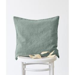 Zelený lněný povlak na polštář Linen Tales, 45x45cm