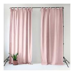 Světle růžový lněný závěs s poutky Linen Tales Night Time, 250x140cm