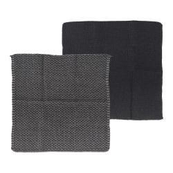 Set 2 černo-šedých kuchyňských utěrek z bavlny Södahl