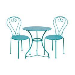 CENTURY Set zahradního nábytku 2 ks židle a 1 ks stůl - petrolejová
