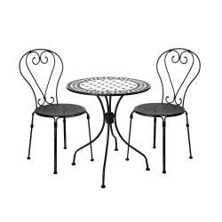 PALAZZO Set zahradního nábytku 2 ks židle a 1 ks stůl - černá/bílá