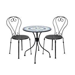 PALAZZO Set zahradního nábytku 2 ks židle a 1 ks stůl - modrá/žlutá/černá